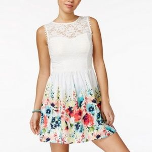 White Floral Poppy LACE FIT & FLARE DRESS NWT
